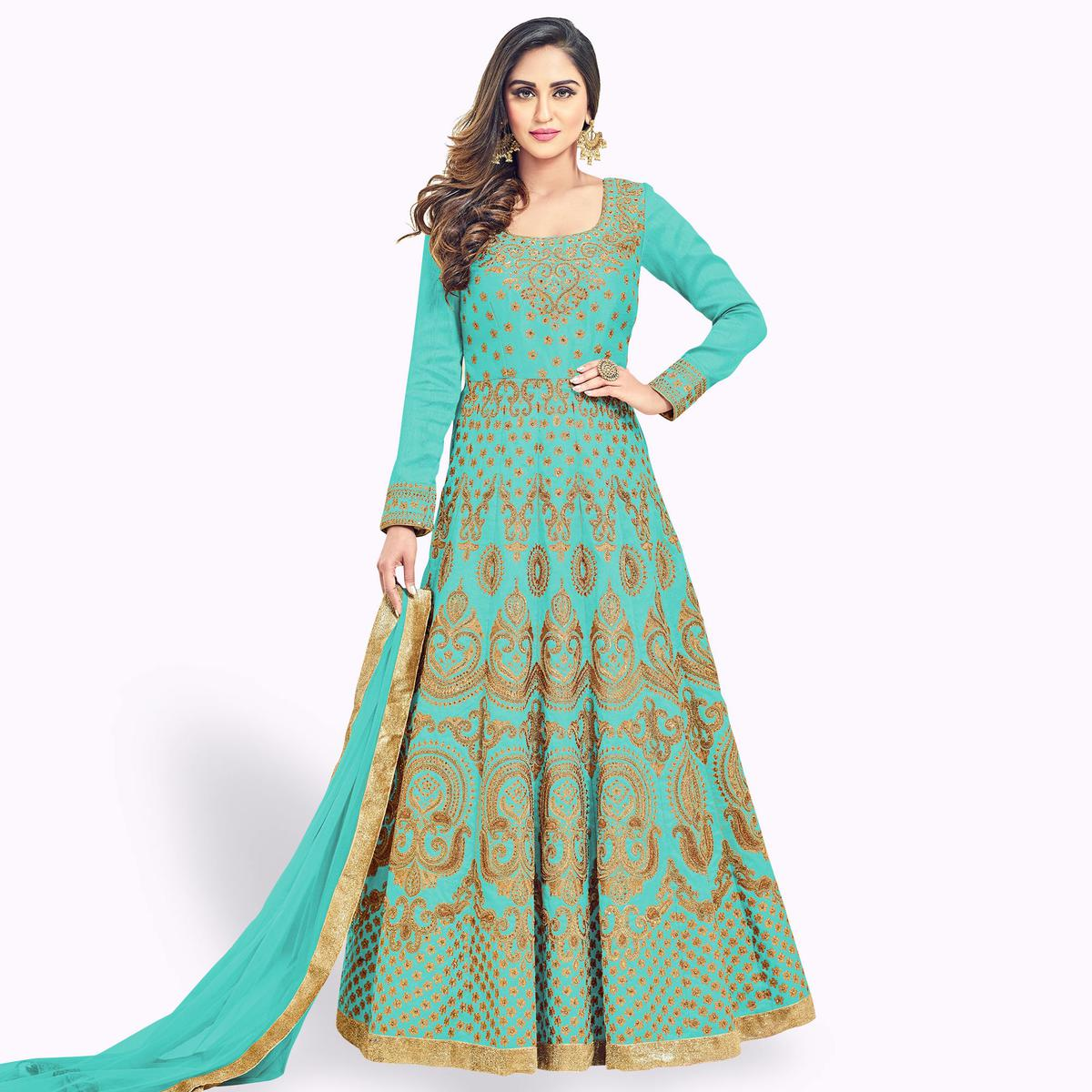 Attractive Turquoise Green Colored Heavy Embroidered Partywear Banglori Silk Anarkali Suit
