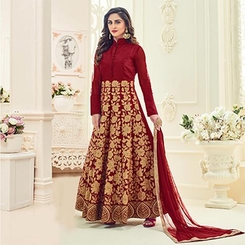 Mystic Maroon Colored Heavy Embroidered Partywear Raw Silk Anarkali Suit