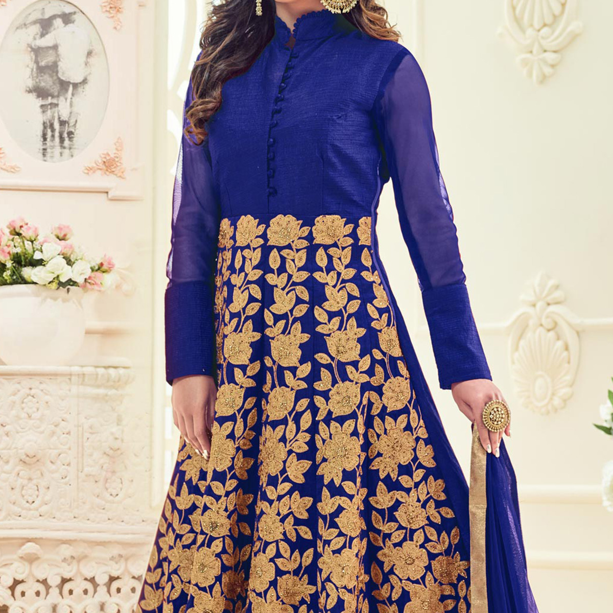 Regal Royal Blue Colored Heavy Embroidered Partywear Raw Silk Anarkali Suit
