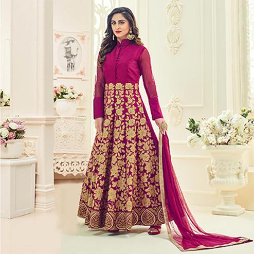 Pretty Pink Colored Heavy Embroidered Partywear Raw Silk Anarkali Suit