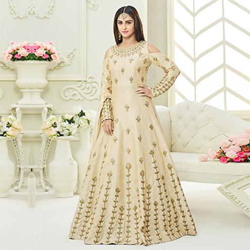 Capricious Beige Colored Designer Embroidered Mulberry Silk Anarkali Suit