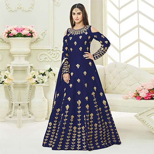 Glowing Blue Colored Designer Embroidered Mulberry Silk Anarkali Suit