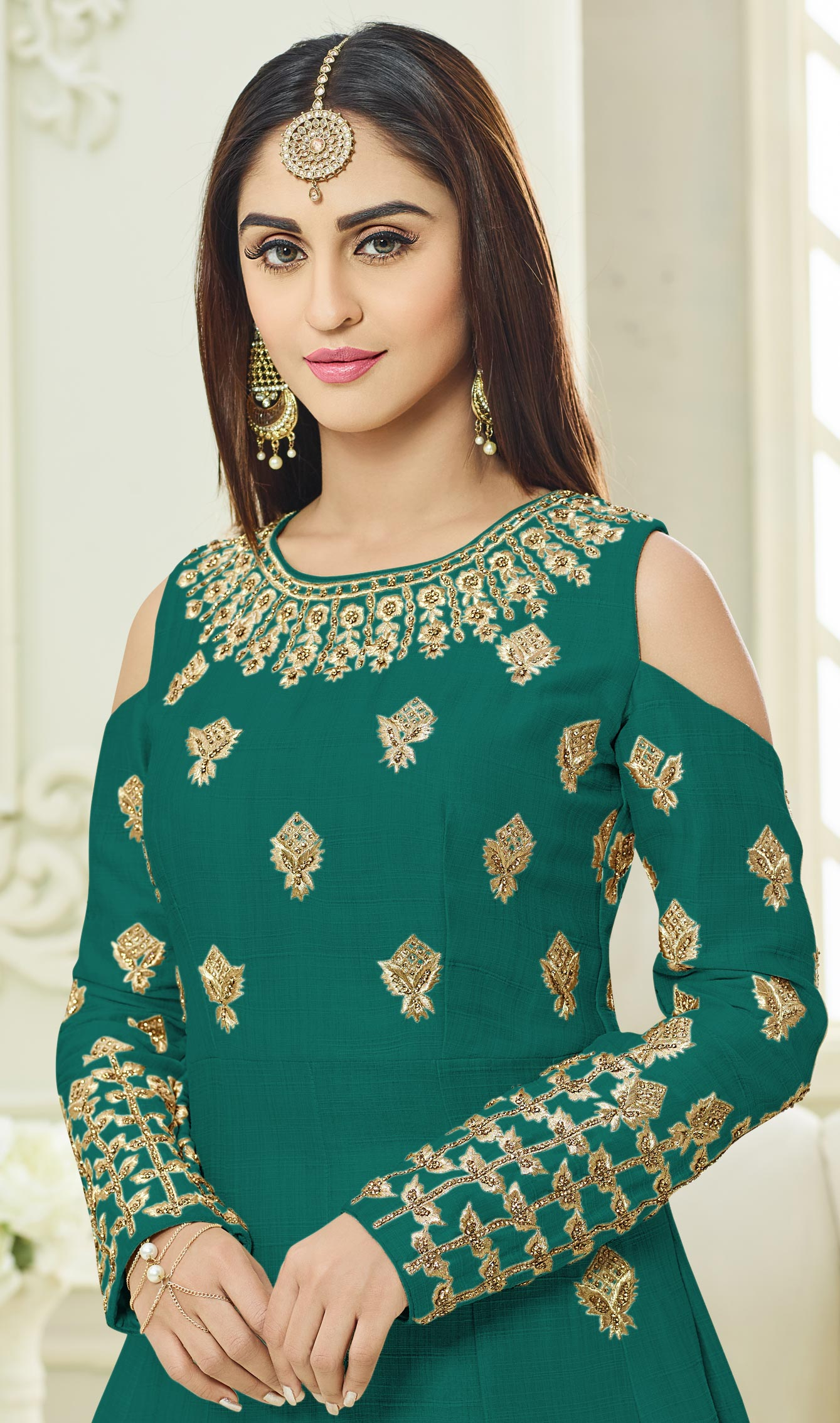 Snazzy Green Colored Designer Embroidered Mulberry Silk Anarkali Suit