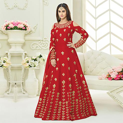 Awesome Red Colored Designer Embroidered Mulberry Silk Anarkali Suit