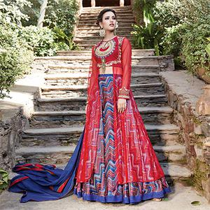 Precious Red-Blue Designer Embroidered Partywear Silk-Net Lehenga Suit