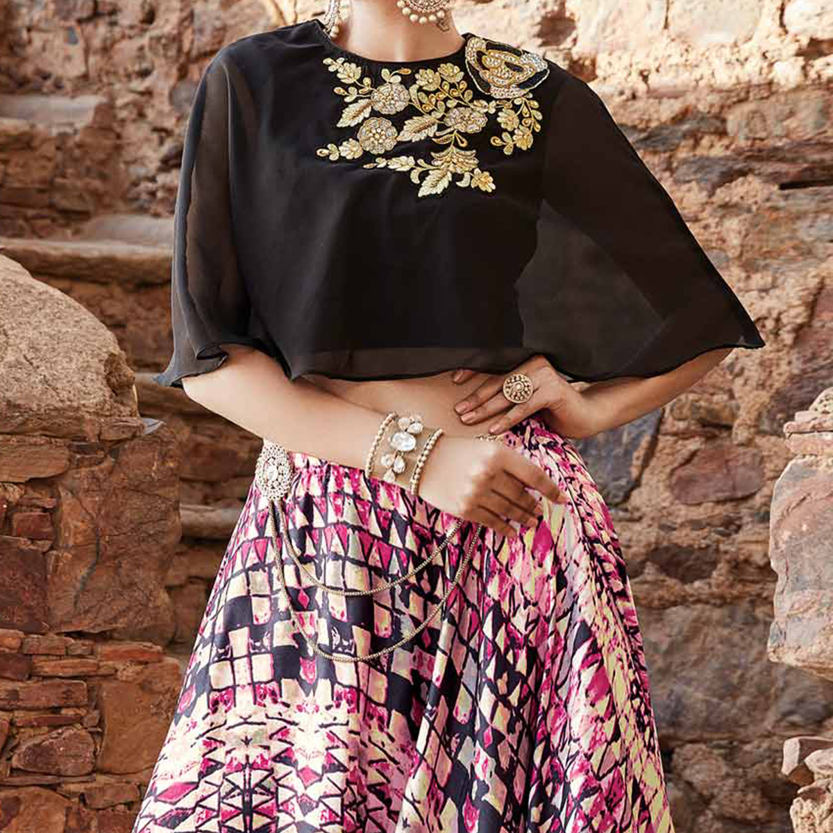 Deserving Black-Pink Designer Embroidered Partywear Georgette Lehenga