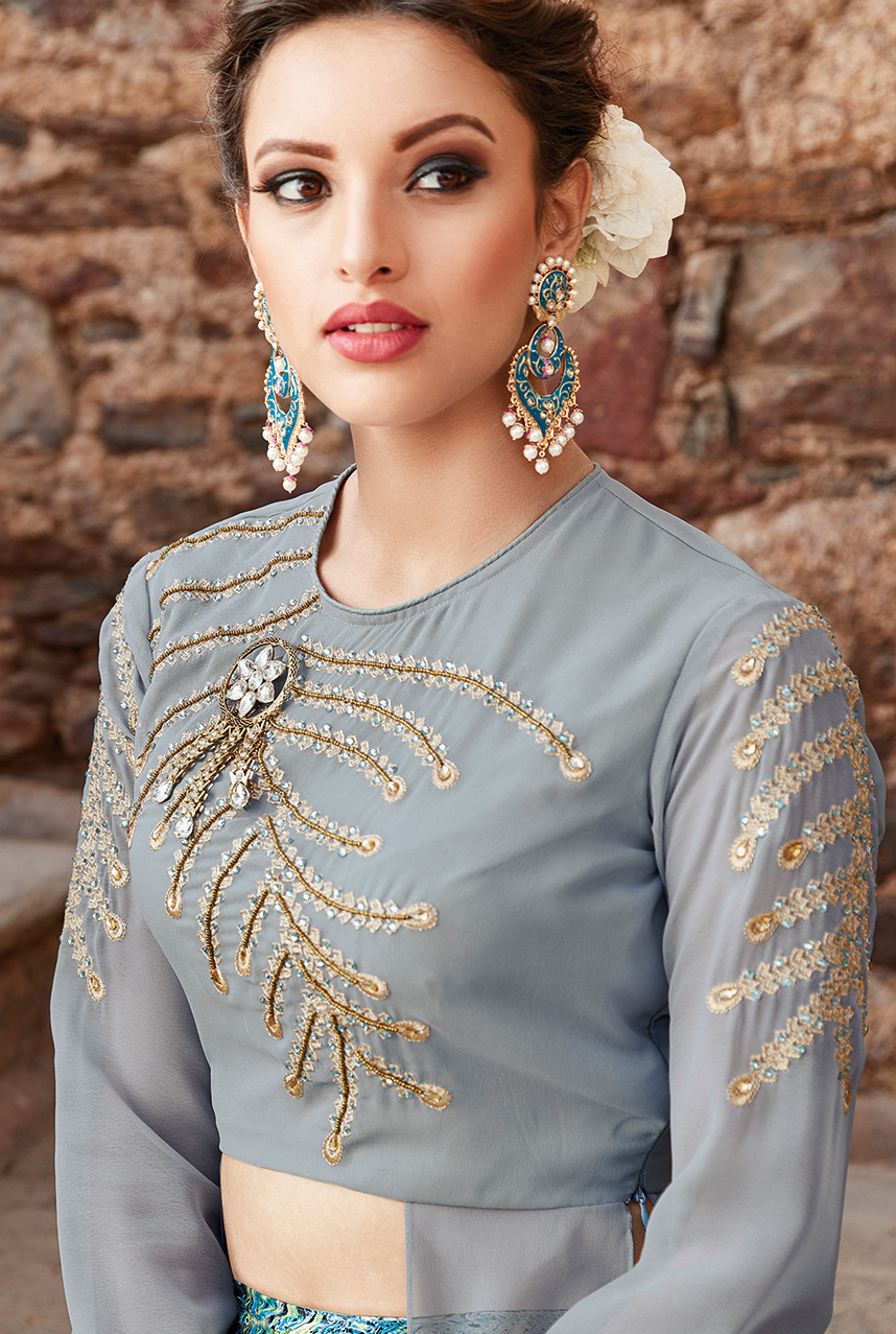 Extraordinary Grey-Sky Blue Designer Embroidered Partywear Georgette Lehenga Suit