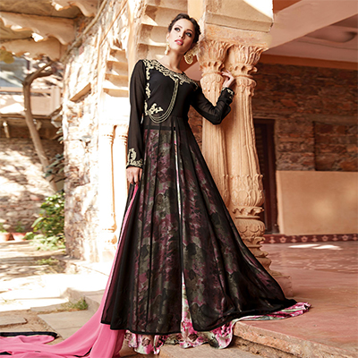 Glowing Black-Pink Designer Embroidered Partywear Georgette Lehenga Suit