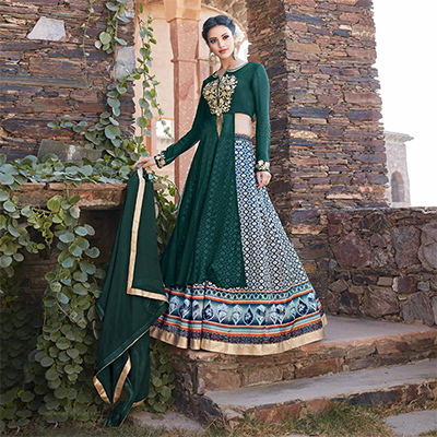 Capricious Green Designer Embroidered Partywear Georgette Lehenga Suit