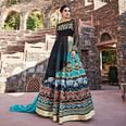 Adorning Black-Turquoise Designer Embroidered Partywear Silk-Net Lehenga Suit