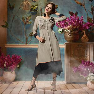 Groovy Grey Colored Fancy Embroidered Rayon Kurti