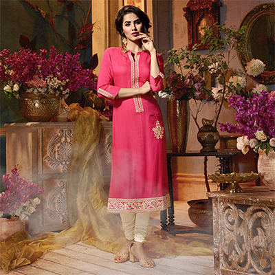 Majestic Pink Colored Fancy Embroidered Rayon Kurti