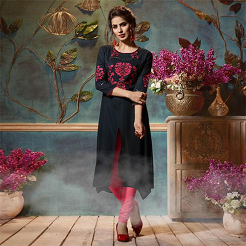 Flirty Black Colored Fancy Embroidered Rayon Kurti