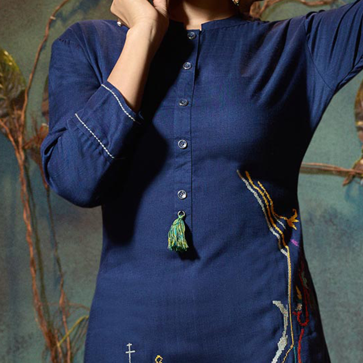 Classy Blue Colored Fancy Embroidered Rayon Kurti