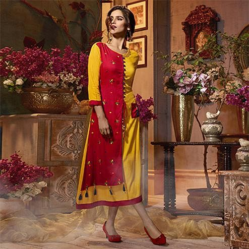 Glowing Yellow-Red Colored Fancy Embroidered Rayon Kurti