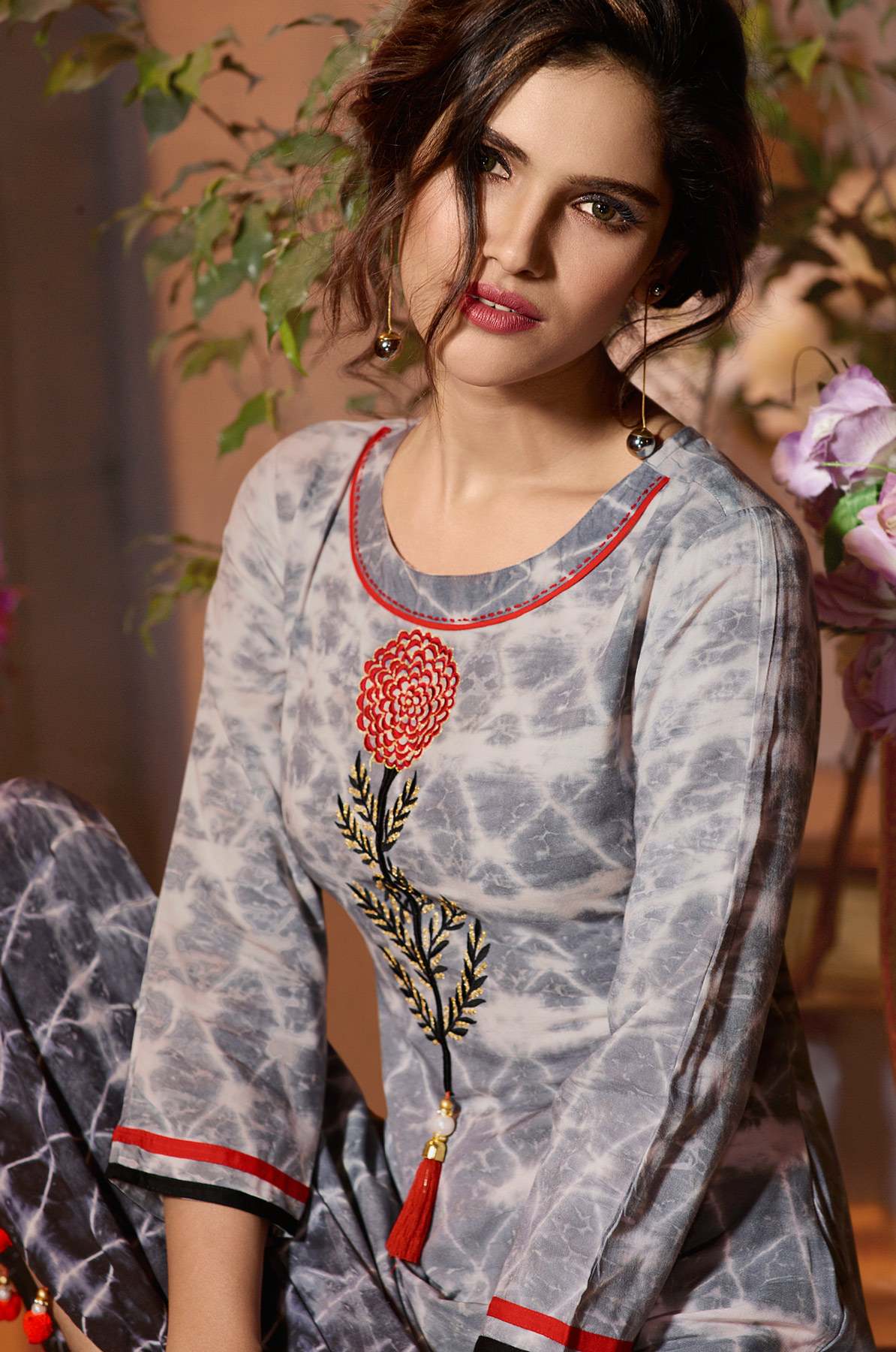 Trendy Grey Colored Fancy Printed Rayon Long Kurti