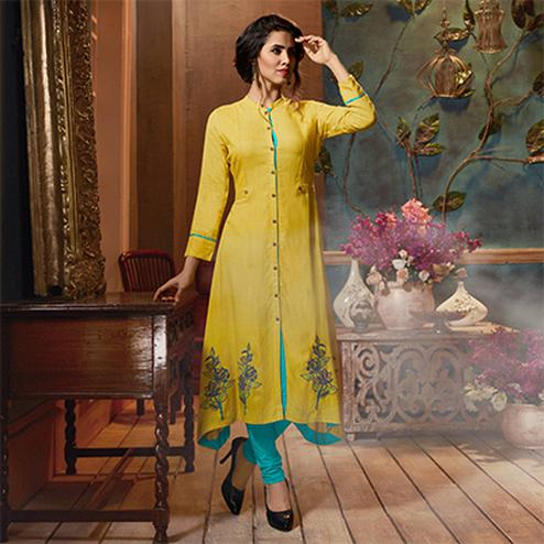 Smart Yellow Colored Fancy Embroidered Rayon Kurti