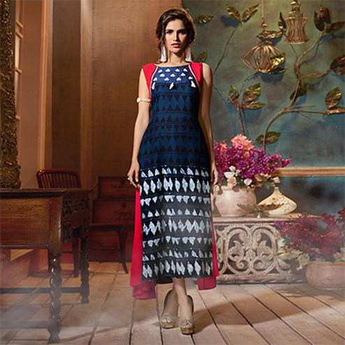 Awesome Navy Blue-Fuschia Pink Colored Fancy Printed Rayon Long Kurti