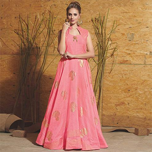 Pretty Pink Colored Partywear Printed Art Silk Gown