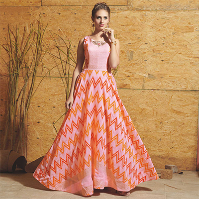 Eye-Catching Light Pink Colored Partywear Printed Art Silk Gown