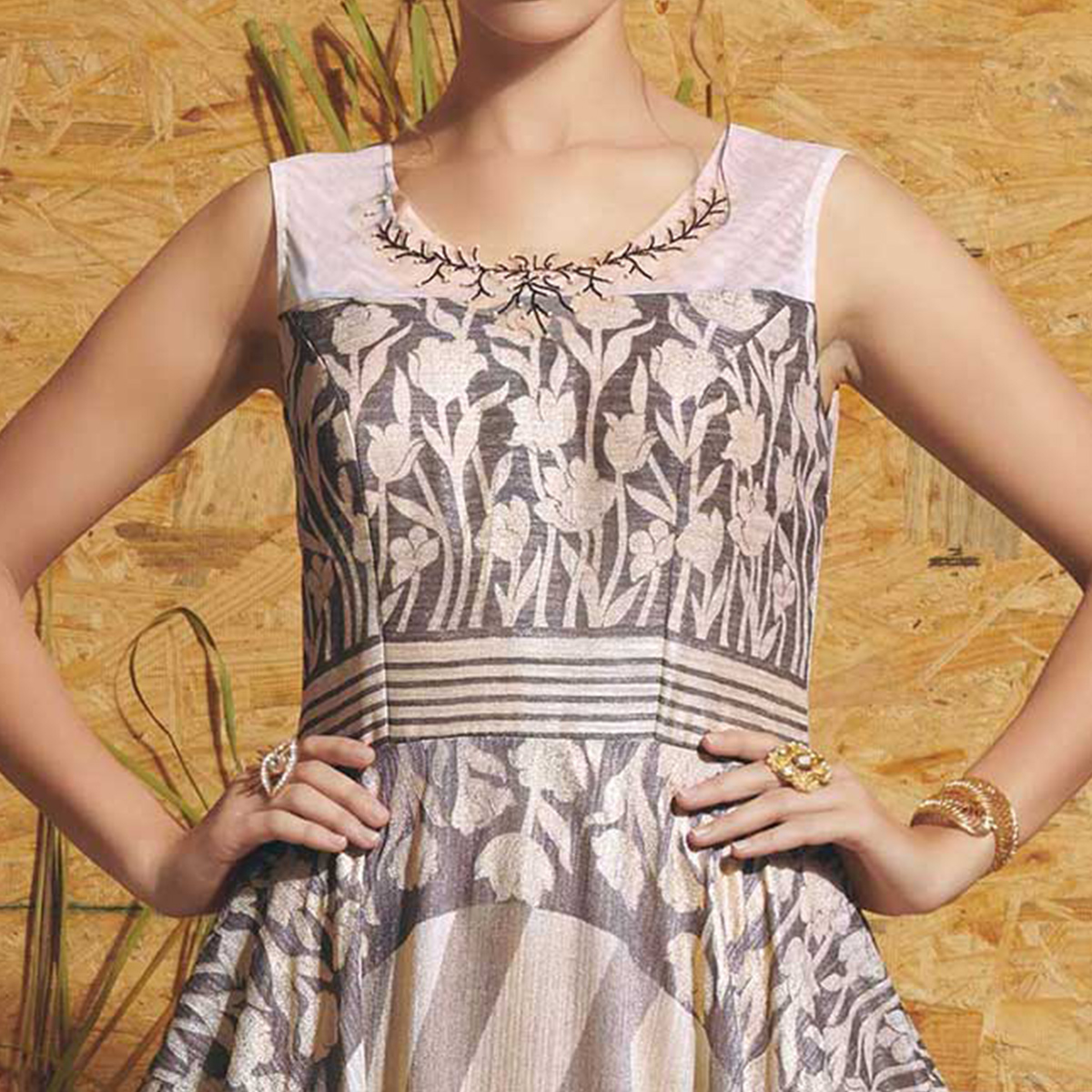 Classy Grey Colored Partywear Printed Art Silk Gown