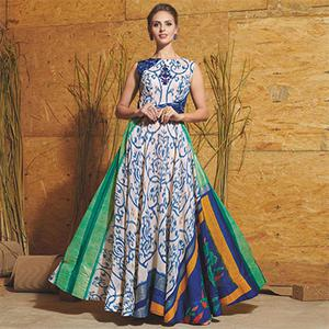 Unique Multicolored Partywear Printed Art Silk Gown