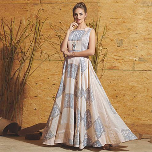 Elegant Off-white Colored Partywear Printed Art Silk Gown