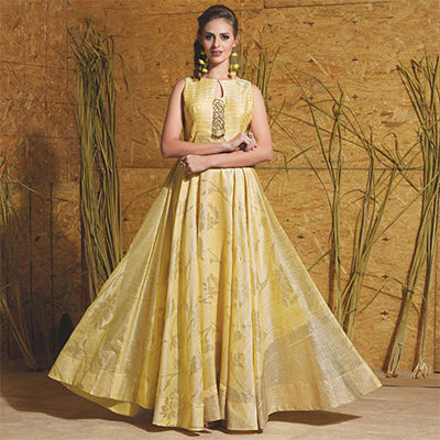 Smart Light Yellow Colored Partywear Printed Art Silk Gown