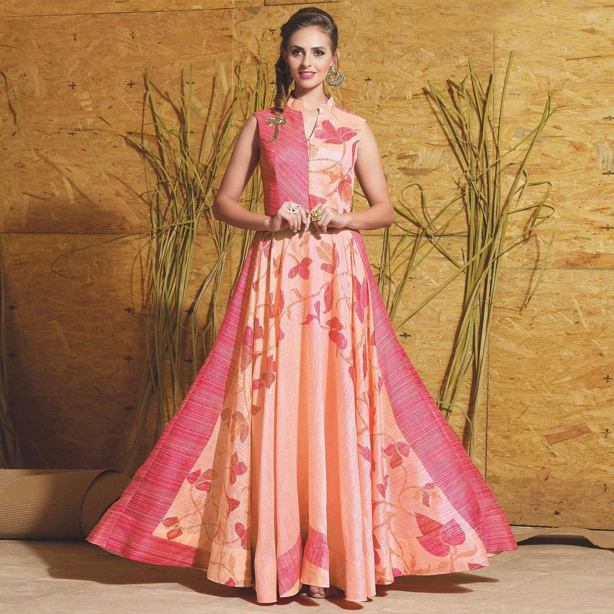 Mesmerising Pink-Peach Colored Partywear Printed Art Silk Gown