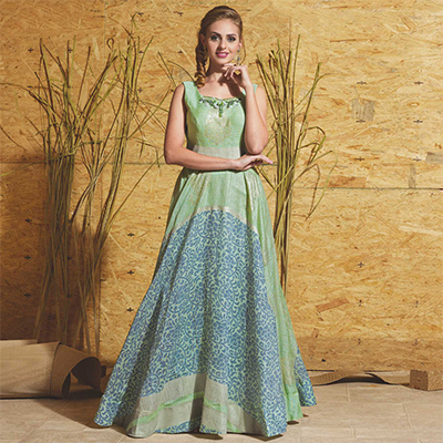 Glorious Green Colored Partywear Printed Art Silk Gown