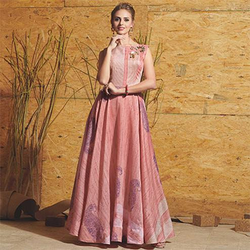Mystic Peach Colored Partywear Printed Art Silk Gown