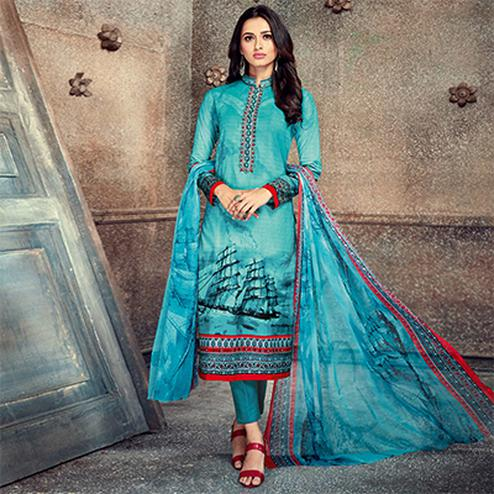 Mesmerising Aqua Blue Colored Printed Pure Cotton Salwar Suit