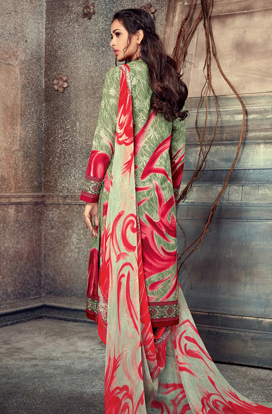 Groovy Green-Red Colored Printed Pure Cotton Salwar Suit