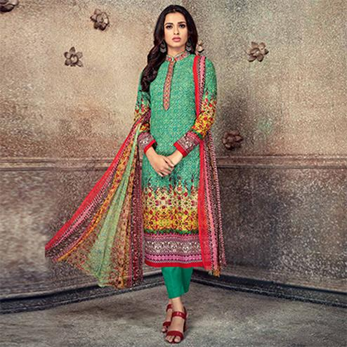 Dazzling Green Colored Printed Pure Cotton Salwar Suit