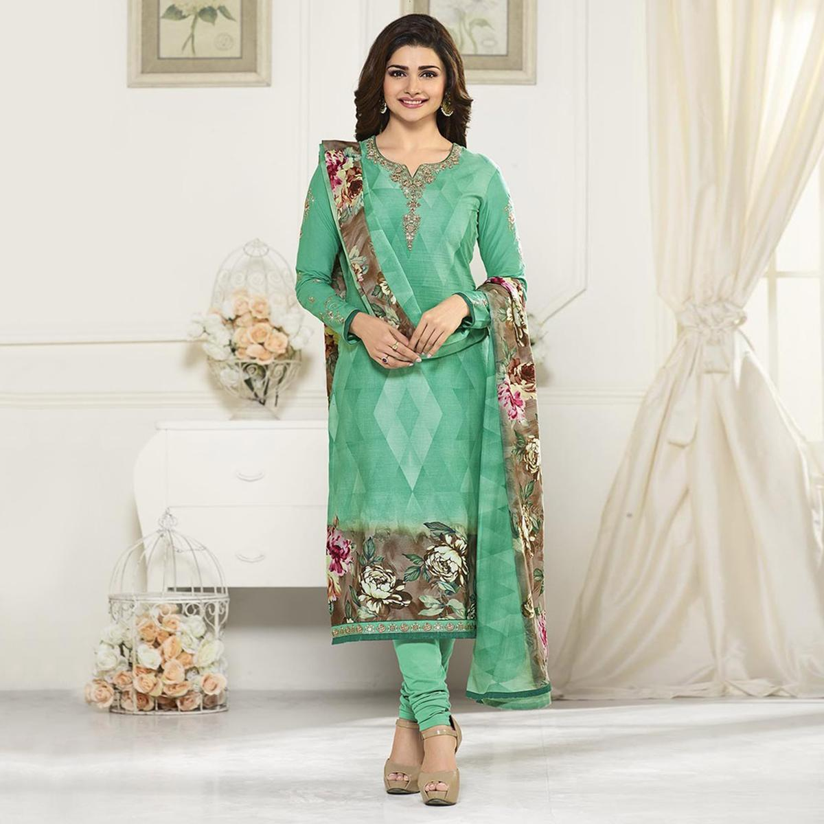 Green Floral Printed Straight Cut Suit