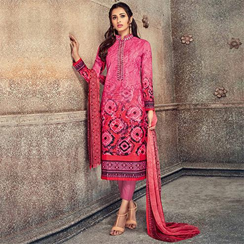 Charming Pink Colored Printed Pure Cotton Salwar Suit