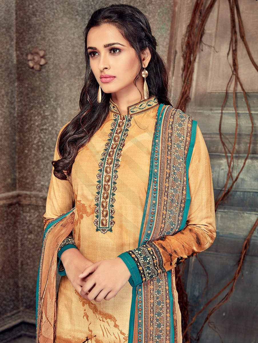 Opulent Beige Colored Printed Pure Cotton Salwar Suit
