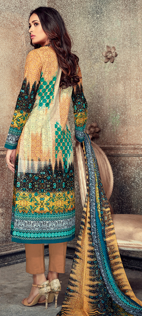 Elegant Light Brown Colored Printed Pure Cotton Salwar Suit