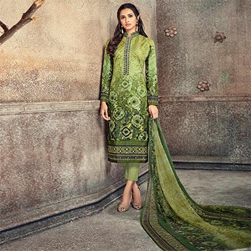 Majestic Green Colored Printed Pure Cotton Salwar Suit