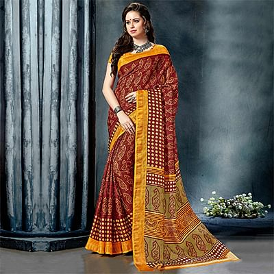 Gratifying Maroon-Yellow Colored Casual Printed Pure Cotton Saree