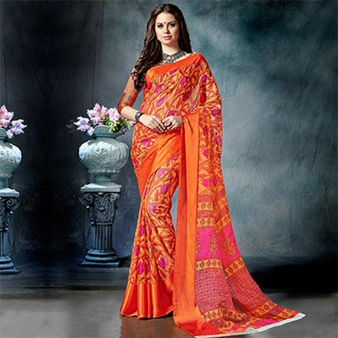 Energetic Orange Colored Casual Printed Pure Cotton Saree
