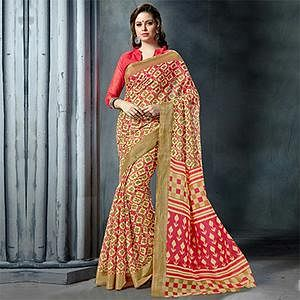Fashionable MultiColored Casual Printed Pure Cotton Saree
