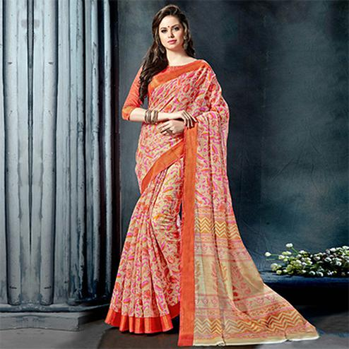 Pleasant Orange Colored Casual Printed Pure Cotton Saree