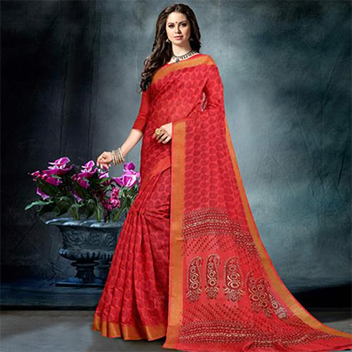 Sunshine Red Colored Casual Printed Pure Cotton Saree