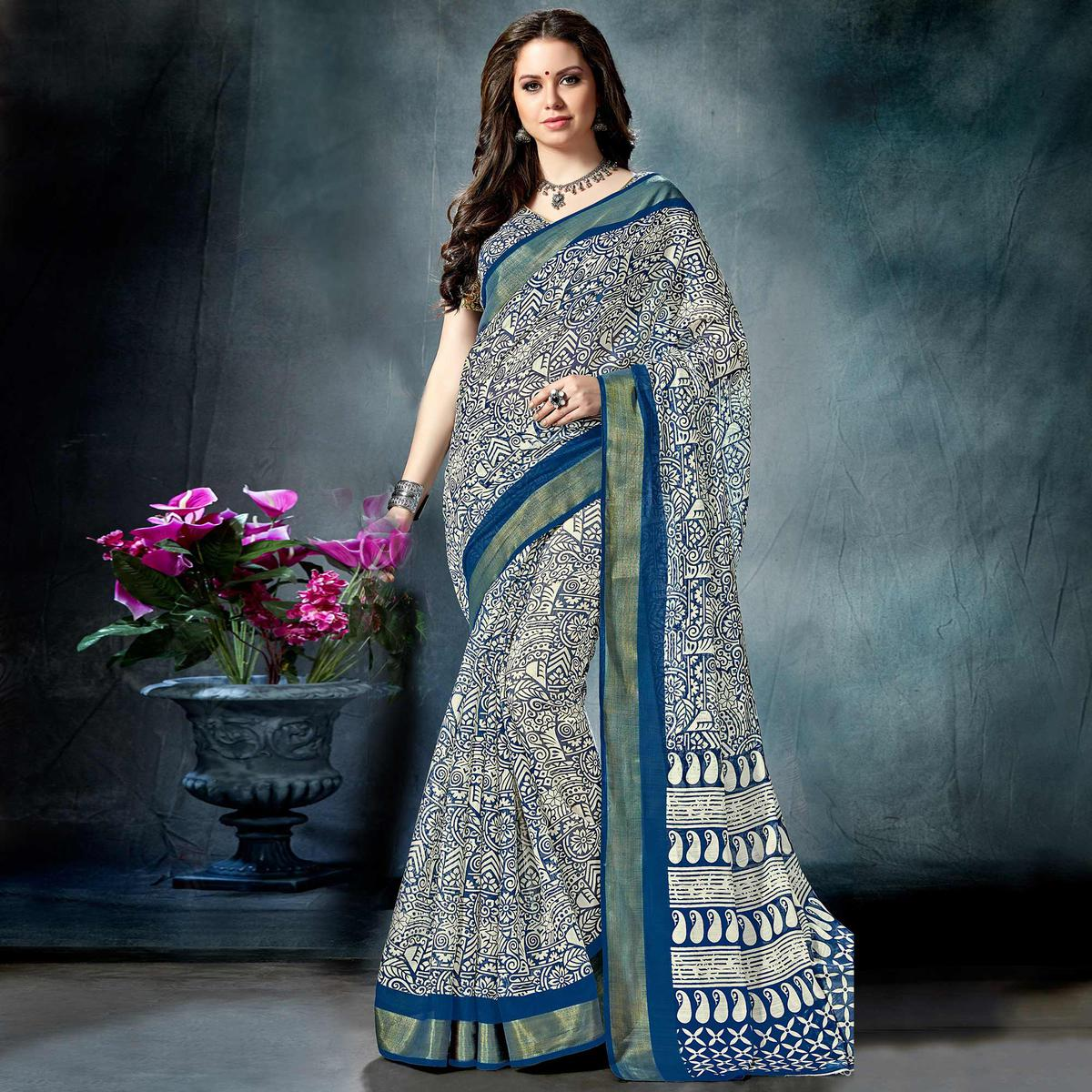 Strange Off-White-Blue Colored Casual Printed Pure Cotton Saree