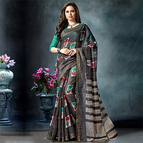 Sensible Dark Grey Colored Casual Printed Pure Cotton Saree
