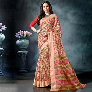 Jazzy Peach Colored Casual Printed Pure Cotton Saree