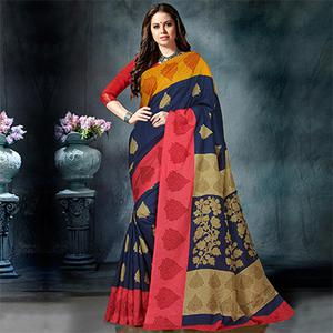 Fab Navy Blue Colored Casual Printed Pure Cotton Saree