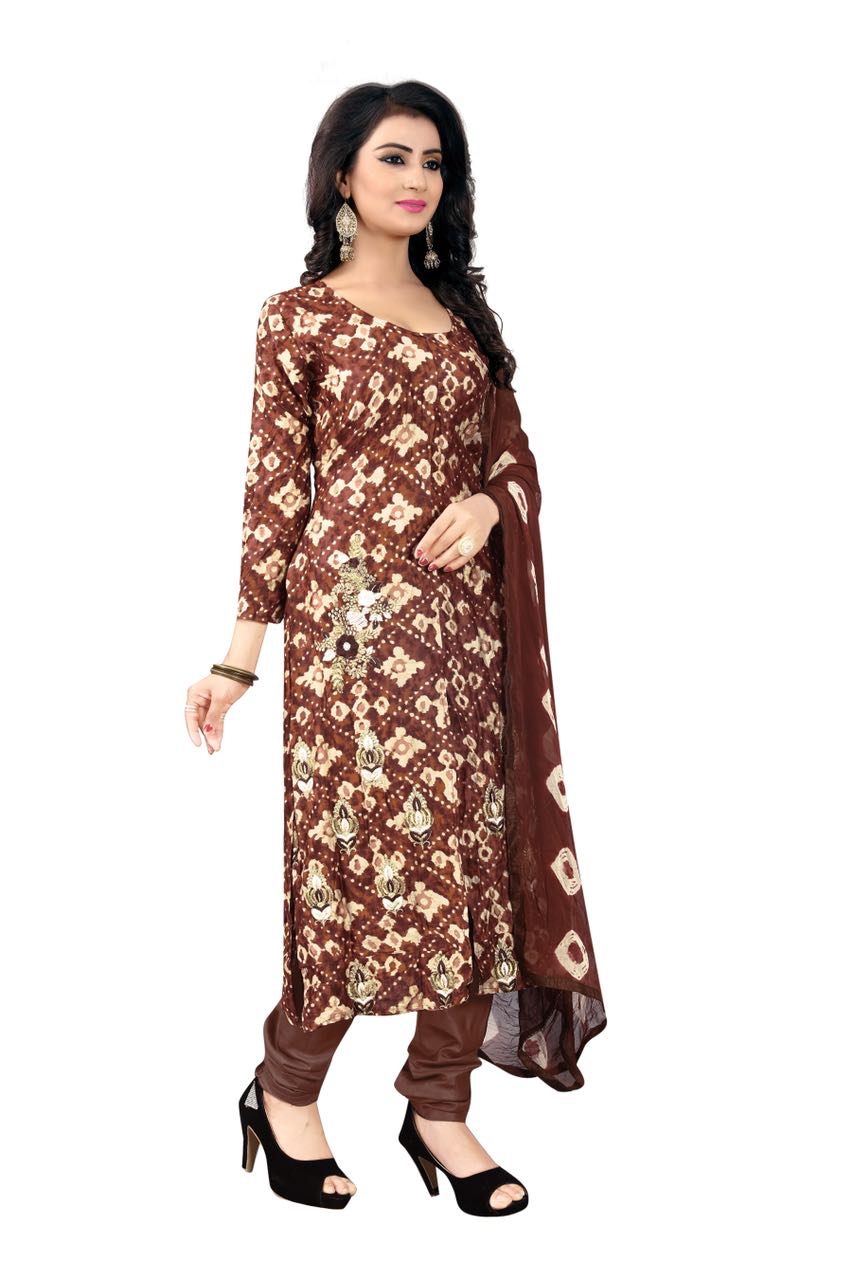Gorgeous Brown Colored Casual Printed Glace Cotton Dress Material