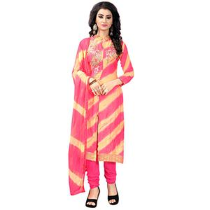 Pretty Pink Colored Casual Printed Glace Cotton Dress Material